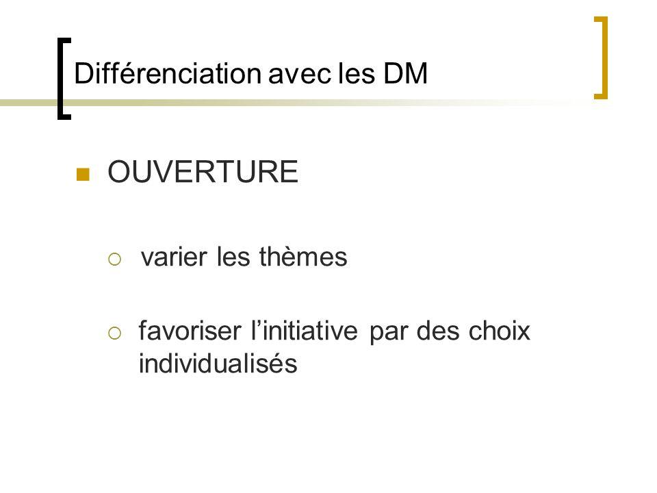 Différenciation avec les DM OUVERTURE varier les thèmes favoriser linitiative par des choix individualisés