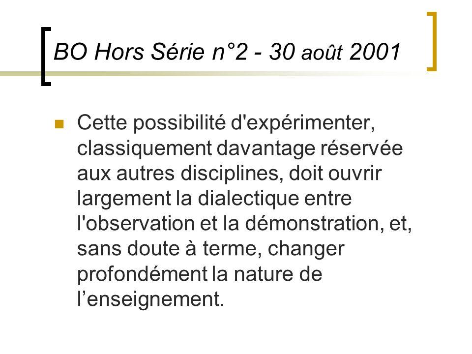 BO Hors Série n°2 - 30 août 2001 Cette possibilité d'expérimenter, classiquement davantage réservée aux autres disciplines, doit ouvrir largement la d