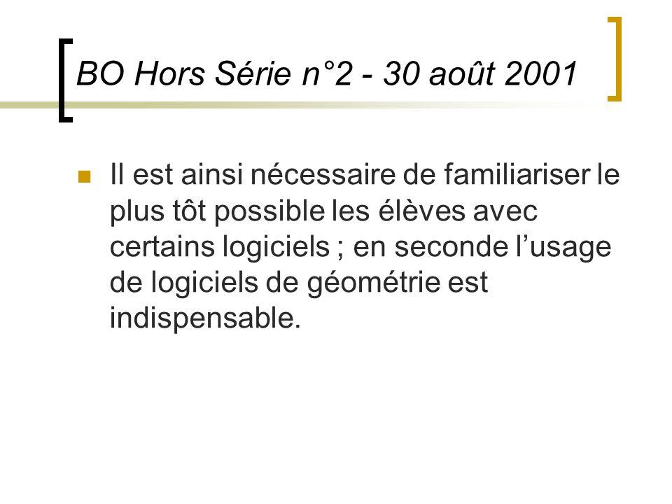 BO Hors Série n°2 - 30 août 2001 Il est ainsi nécessaire de familiariser le plus tôt possible les élèves avec certains logiciels ; en seconde lusage d