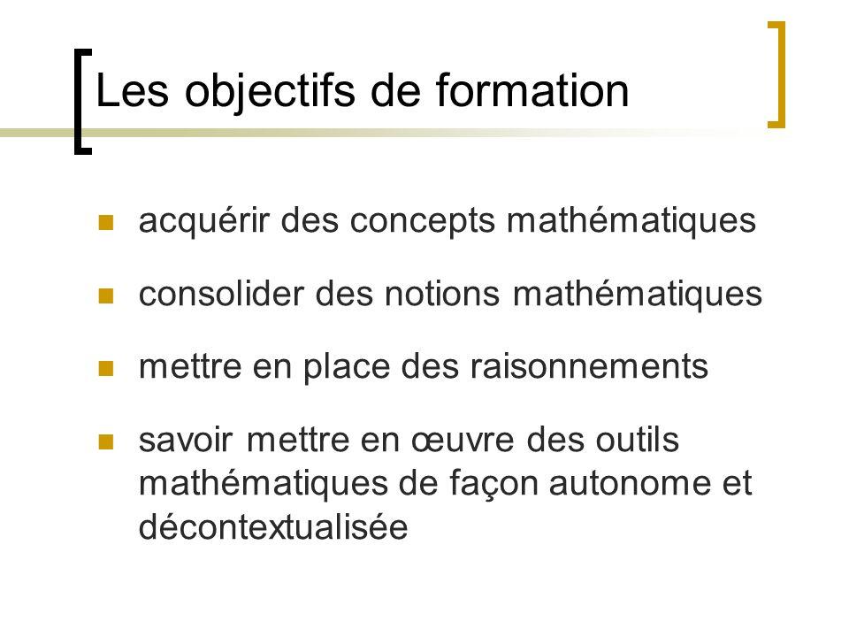 Les objectifs de formation acquérir des concepts mathématiques consolider des notions mathématiques mettre en place des raisonnements savoir mettre en