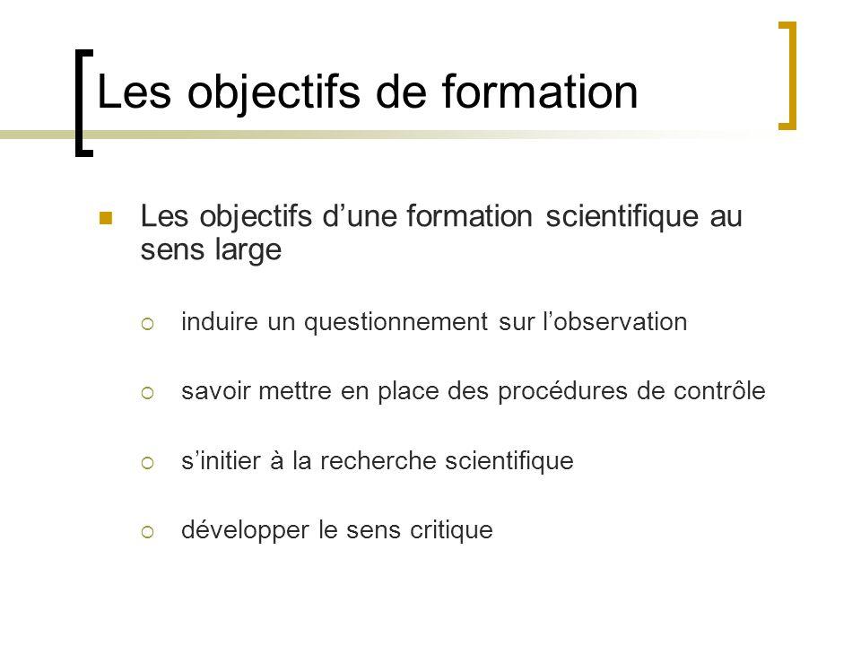 Les objectifs de formation Les objectifs dune formation scientifique au sens large induire un questionnement sur lobservation savoir mettre en place d