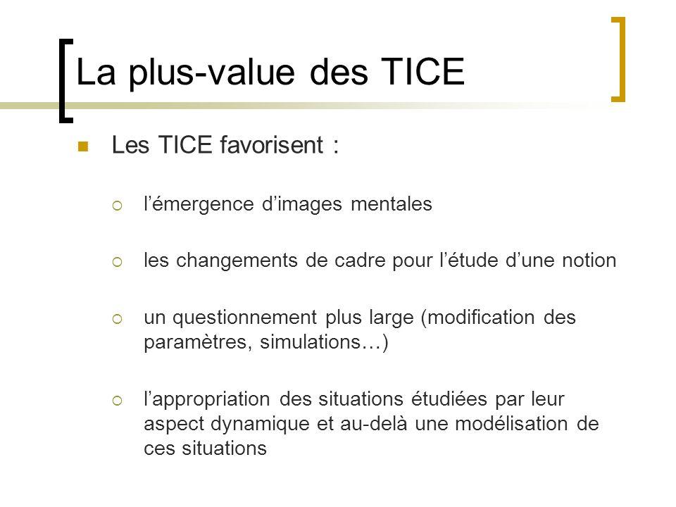 La plus-value des TICE Les TICE favorisent : lémergence dimages mentales les changements de cadre pour létude dune notion un questionnement plus large