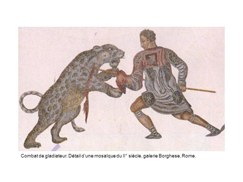 Combat de gladiateur. Détail dune mosaïque du II° siècle, galerie Borghese, Rome.