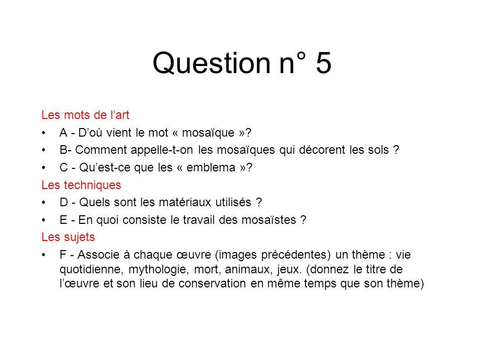 Question n° 5 Les mots de lart A - Doù vient le mot « mosaïque »? B- Comment appelle-t-on les mosaïques qui décorent les sols ? C - Quest-ce que les «