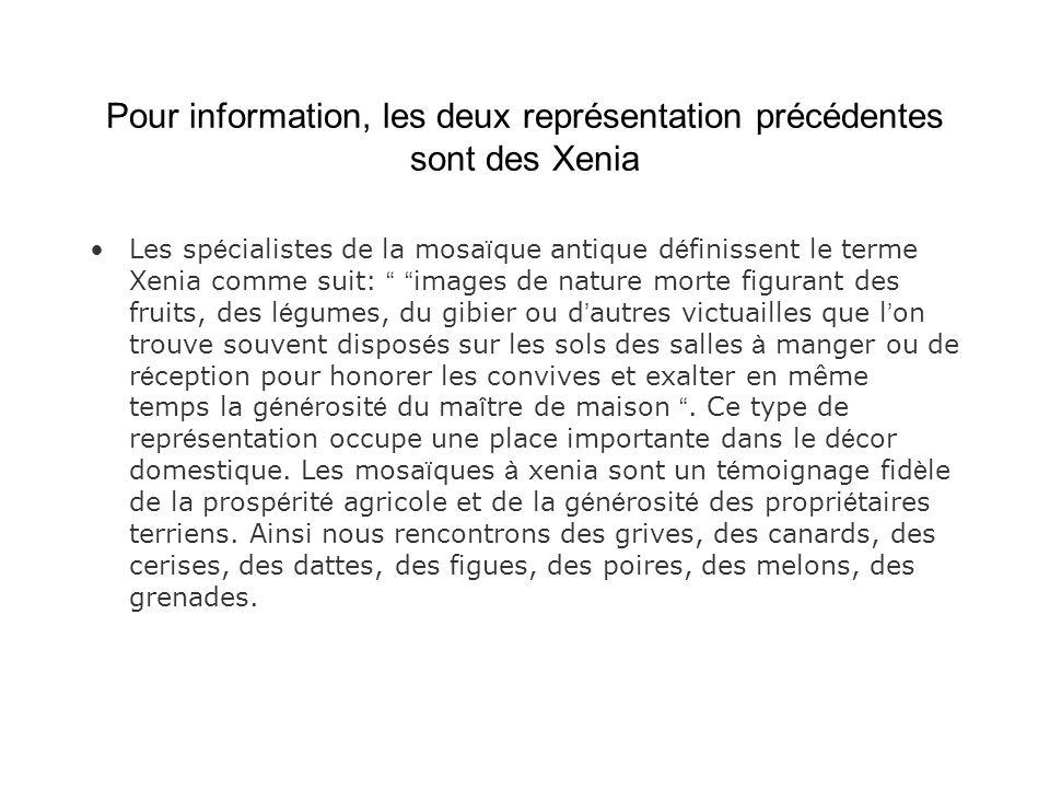 Pour information, les deux représentation précédentes sont des Xenia Les sp é cialistes de la mosa ï que antique d é finissent le terme Xenia comme su