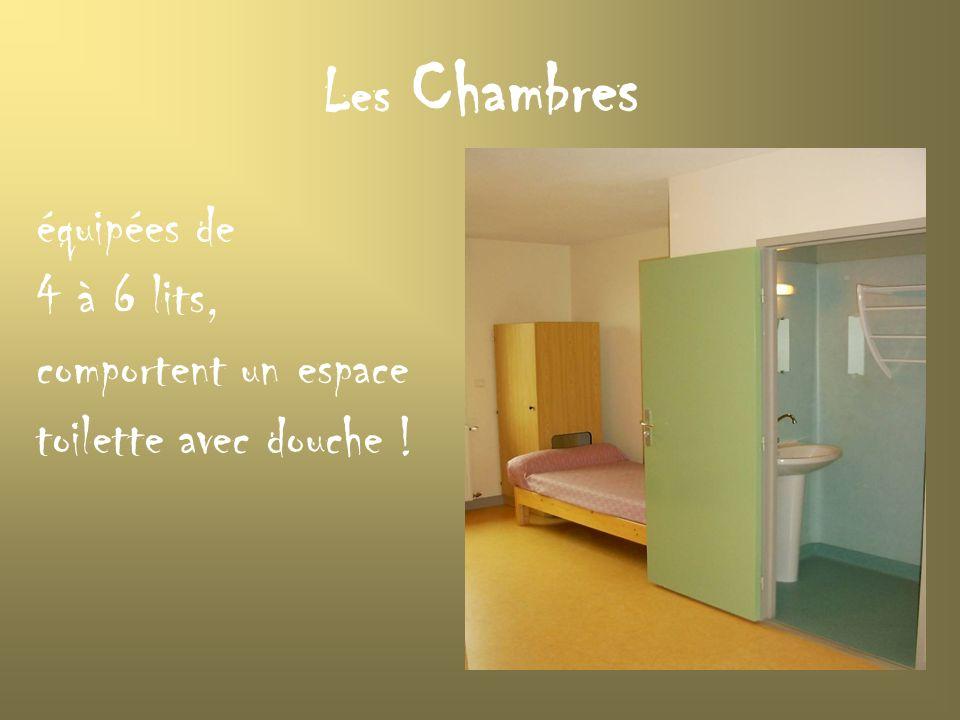 Les Chambres équipées de 4 à 6 lits, comportent un espace toilette avec douche !