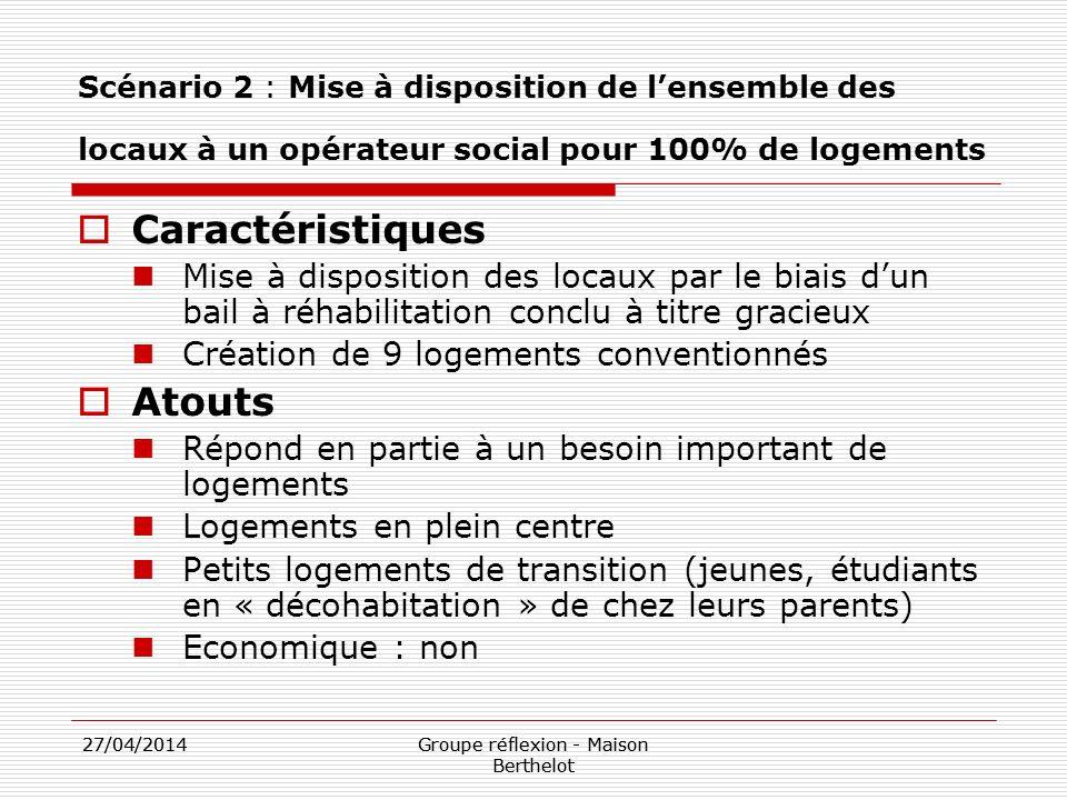 27/04/2014Groupe réflexion - Maison Berthelot 27/04/2014Groupe réflexion - Maison Berthelot Scénario 2 : Mise à disposition de lensemble des locaux à