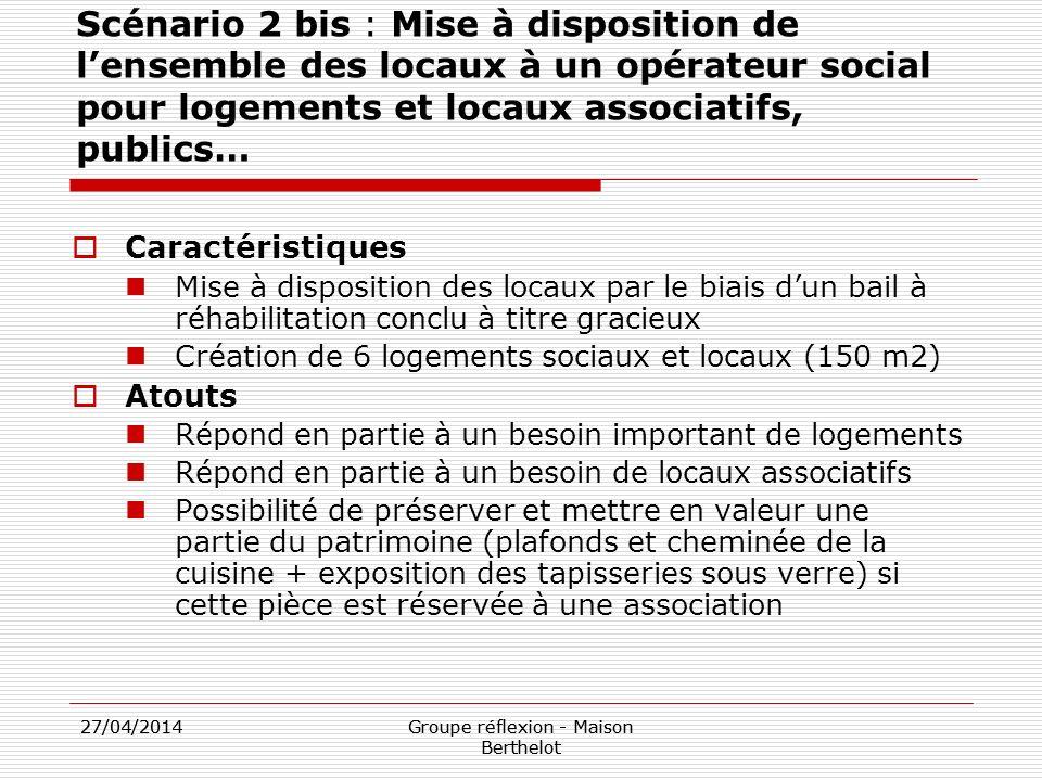 27/04/2014Groupe réflexion - Maison Berthelot 27/04/2014Groupe réflexion - Maison Berthelot Scénario 2 bis : Mise à disposition de lensemble des locau