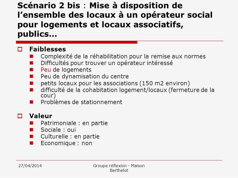 27/04/2014Groupe réflexion - Maison Berthelot Scénario 2 bis : Mise à disposition de lensemble des locaux à un opérateur social pour logements et loca