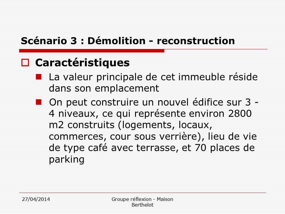 27/04/2014Groupe réflexion - Maison Berthelot 27/04/2014Groupe réflexion - Maison Berthelot Scénario 3 : Démolition - reconstruction Caractéristiques