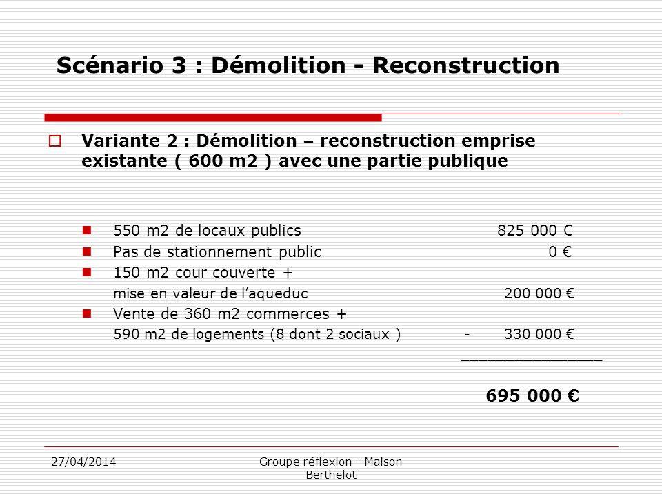 27/04/2014Groupe réflexion - Maison Berthelot Scénario 3 : Démolition - Reconstruction Variante 2 : Démolition – reconstruction emprise existante ( 60