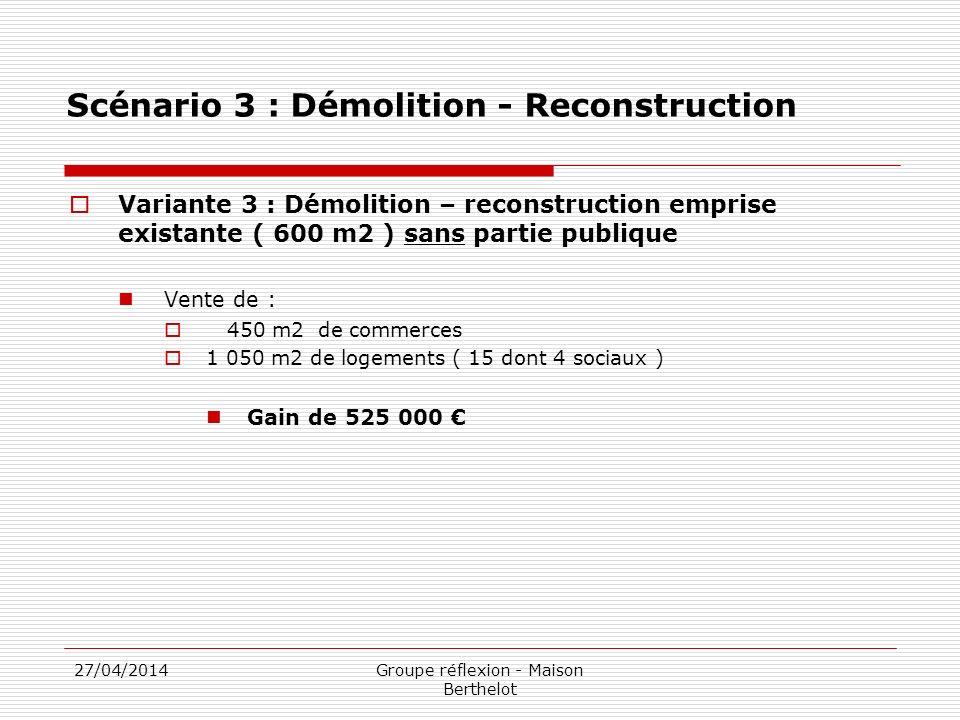27/04/2014Groupe réflexion - Maison Berthelot Scénario 3 : Démolition - Reconstruction Variante 3 : Démolition – reconstruction emprise existante ( 600 m2 ) sans partie publique Vente de : 450 m2 de commerces 1 050 m2 de logements ( 15 dont 4 sociaux ) Gain de 525 000