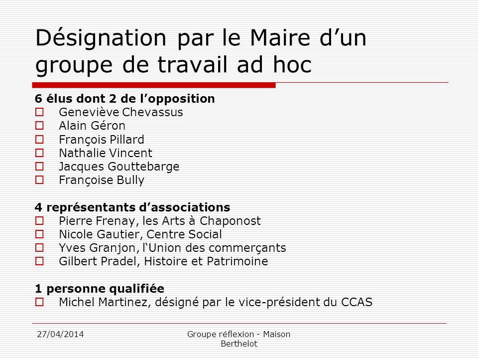 27/04/2014Groupe réflexion - Maison Berthelot Désignation par le Maire dun groupe de travail ad hoc 6 élus dont 2 de lopposition Geneviève Chevassus A