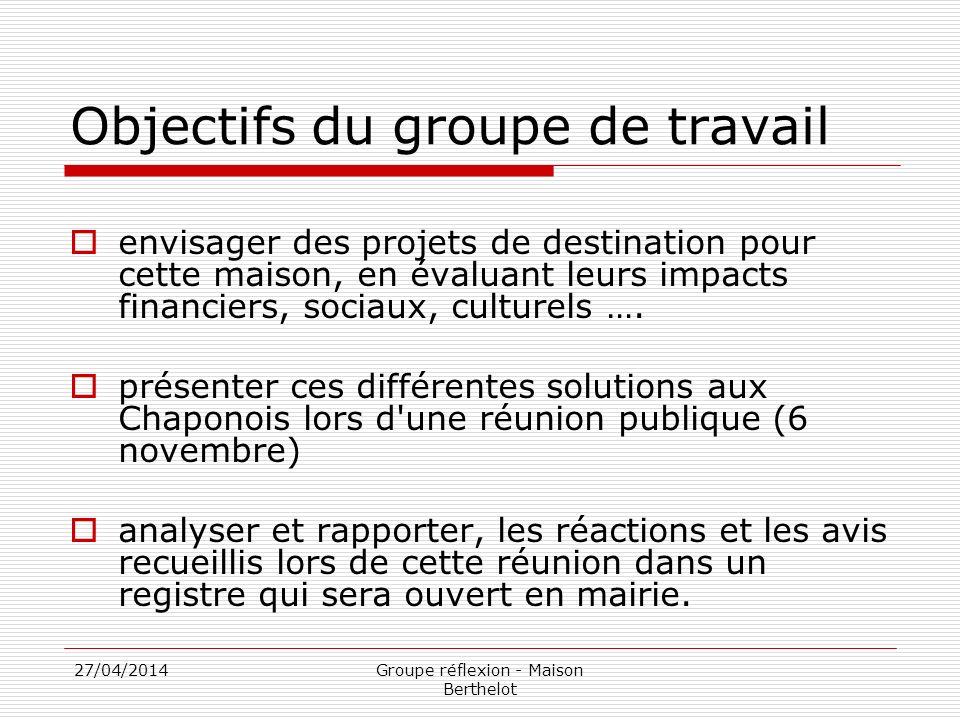 27/04/2014Groupe réflexion - Maison Berthelot Objectifs du groupe de travail envisager des projets de destination pour cette maison, en évaluant leurs impacts financiers, sociaux, culturels ….