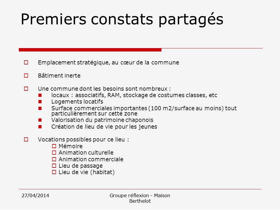 27/04/2014Groupe réflexion - Maison Berthelot 27/04/2014Groupe réflexion - Maison Berthelot Premiers constats partagés Emplacement stratégique, au cœu