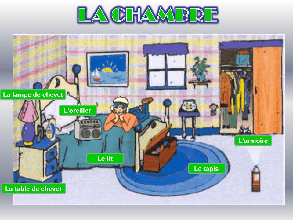 La lampe de chevet Le lit Le tapis Larmoire La table de chevet Loreiller