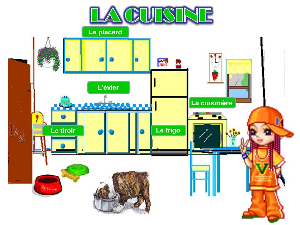 Le placard Le tiroir Lévier Le frigo La cuisinière