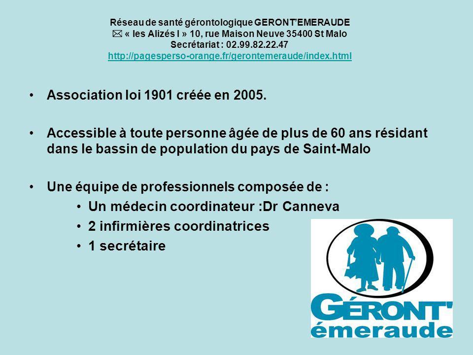 Réseau de santé gérontologique GERONTEMERAUDE « les Alizés I » 10, rue Maison Neuve 35400 St Malo Secrétariat : 02.99.82.22.47 http://pagesperso-orange.fr/gerontemeraude/index.html http://pagesperso-orange.fr/gerontemeraude/index.html Association loi 1901 créée en 2005.