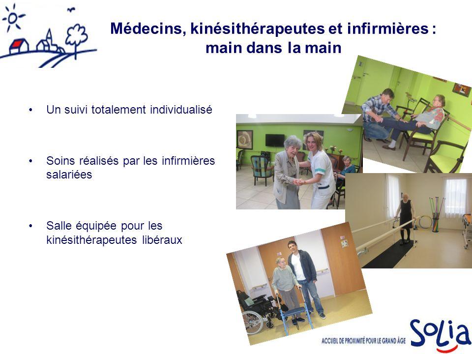 Médecins, kinésithérapeutes et infirmières : main dans la main Un suivi totalement individualisé Soins réalisés par les infirmières salariées Salle équipée pour les kinésithérapeutes libéraux