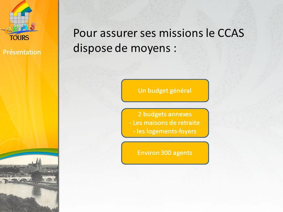 Pour assurer ses missions le CCAS dispose de moyens : Présentation Un budget général 2 budgets annexes - Les maisons de retraite - les logements-foyers Environ 300 agents
