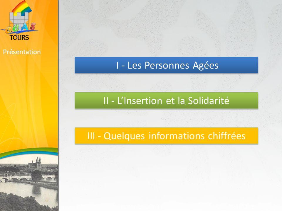 Présentation I - Les Personnes Agées II - LInsertion et la Solidarité III - Quelques informations chiffrées