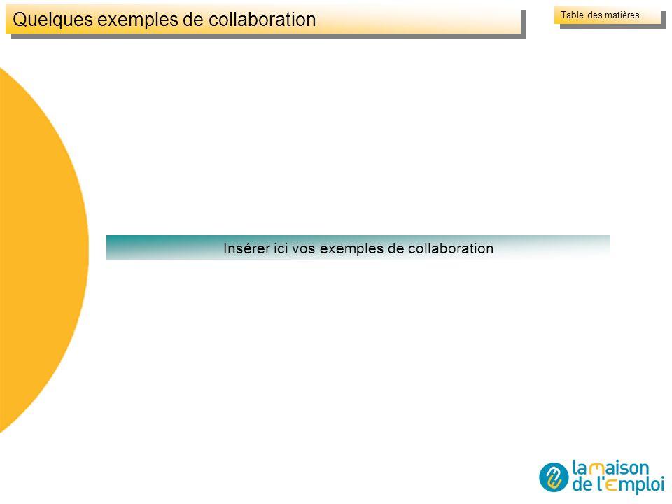 Quelques exemples de collaboration Insérer ici vos exemples de collaboration Table des matières