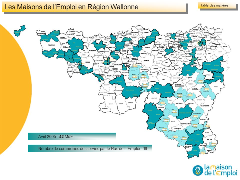 Les Maisons de lEmploi en Région Wallonne Table des matières Avril 2005 : 42 MdE Nombre de communes desservies par le Bus de l Emploi : 19