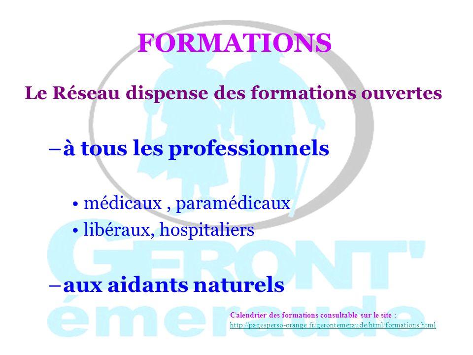 THEMES DE FORMATIONS « Reconnaître la maladie dAlzheimer » « Accompagner une personne en fin de vie » « Épilepsie chez la personne âgée » « Dénutrition et hydratation » « Déglutition et aphasie »….
