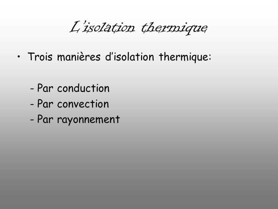 Lisolation thermique Trois manières disolation thermique: - Par conduction - Par convection - Par rayonnement