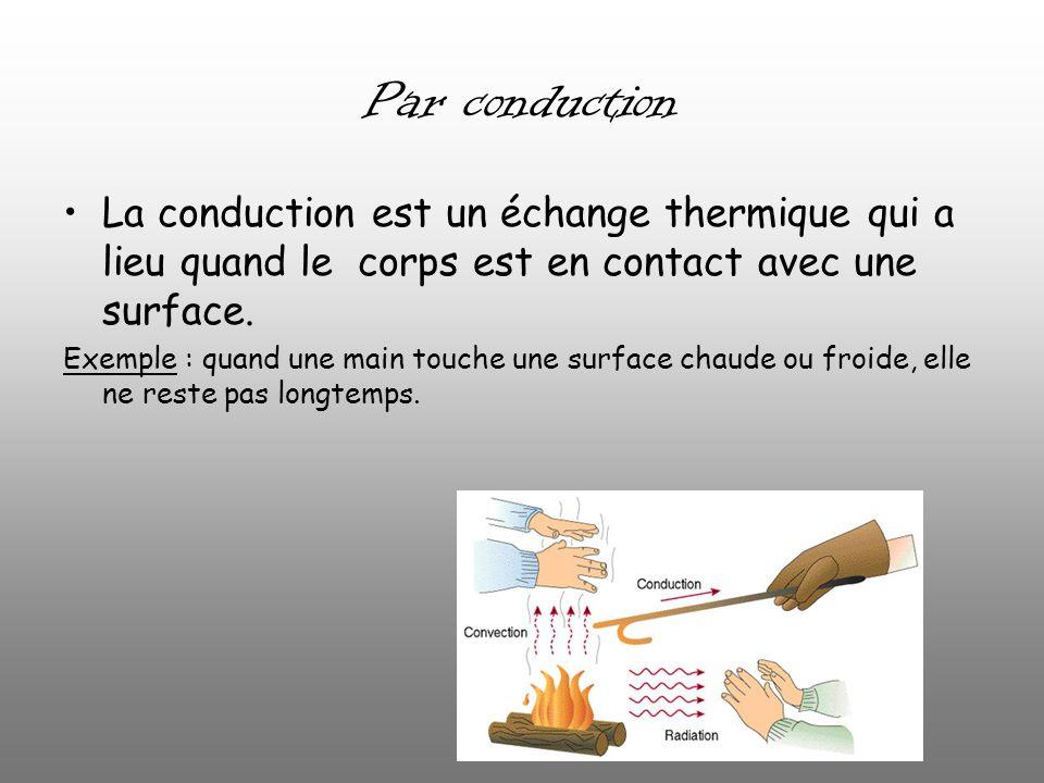 Par conduction La conduction est un échange thermique qui a lieu quand le corps est en contact avec une surface. Exemple : quand une main touche une s