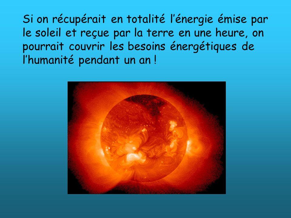 Si on récupérait en totalité lénergie émise par le soleil et reçue par la terre en une heure, on pourrait couvrir les besoins énergétiques de lhumanit