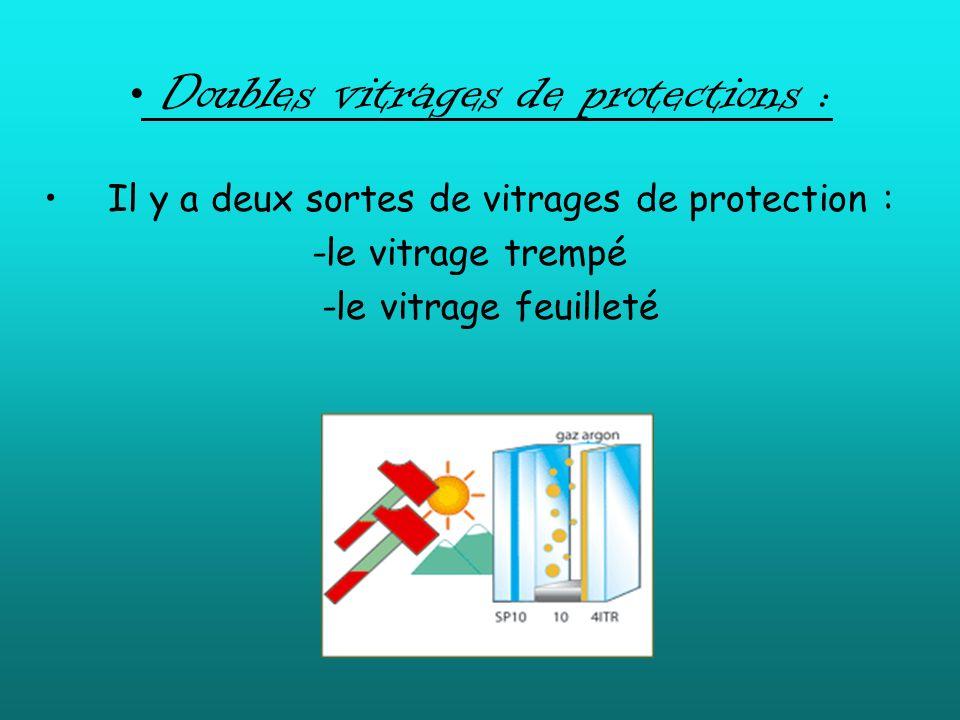 Doubles vitrages de protections : Il y a deux sortes de vitrages de protection : -le vitrage trempé -le vitrage feuilleté