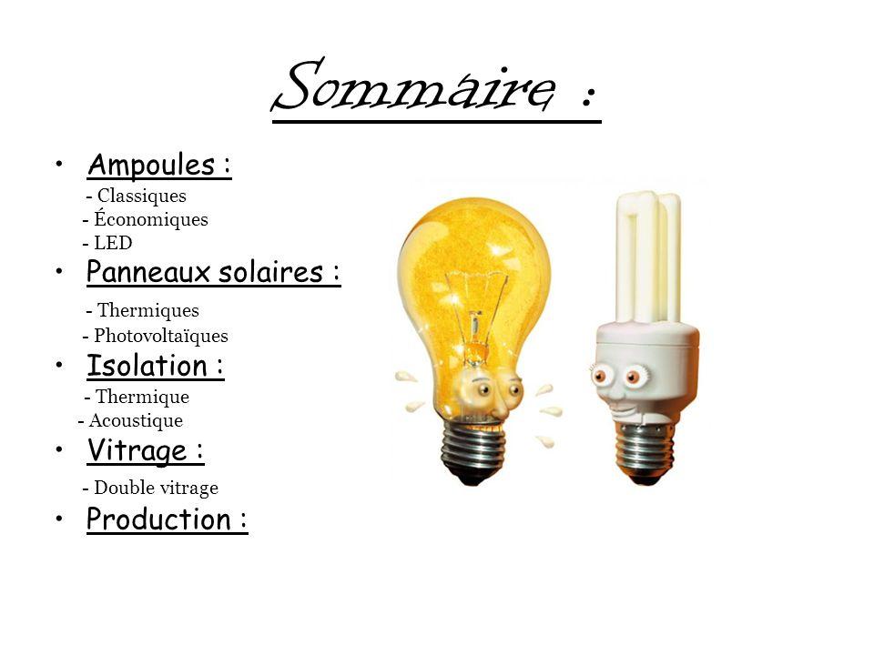 Sommaire : Ampoules : - Classiques - Économiques - LED Panneaux solaires : - Thermiques - Photovoltaïques Isolation : - Thermique - Acoustique Vitrage