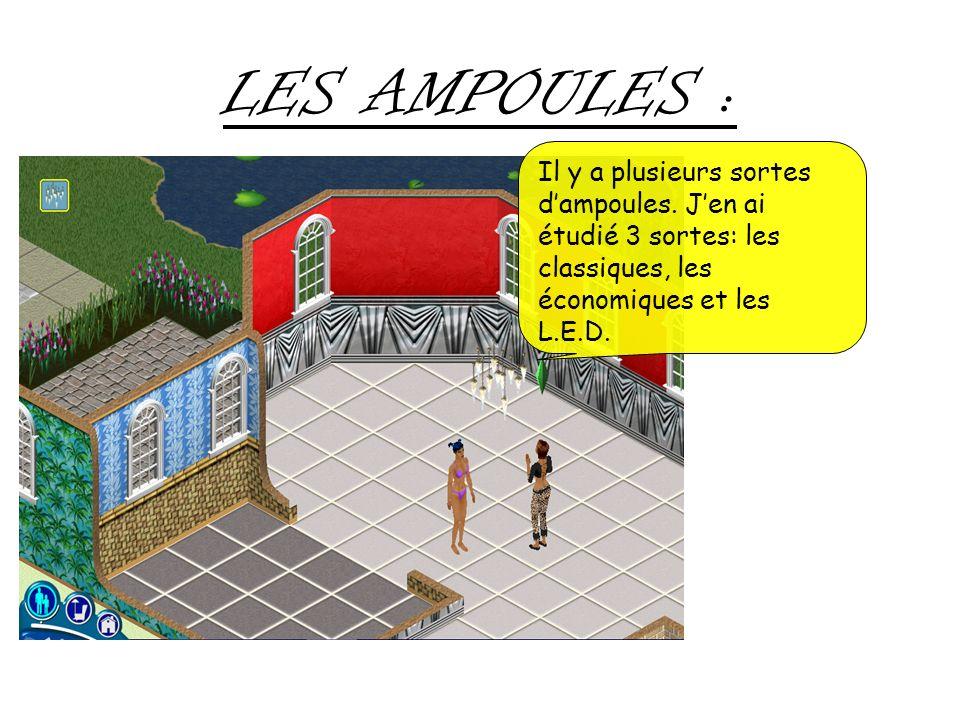 LES AMPOULES : Il y a plusieurs sortes dampoules. Jen ai étudié 3 sortes: les classiques, les économiques et les L.E.D.
