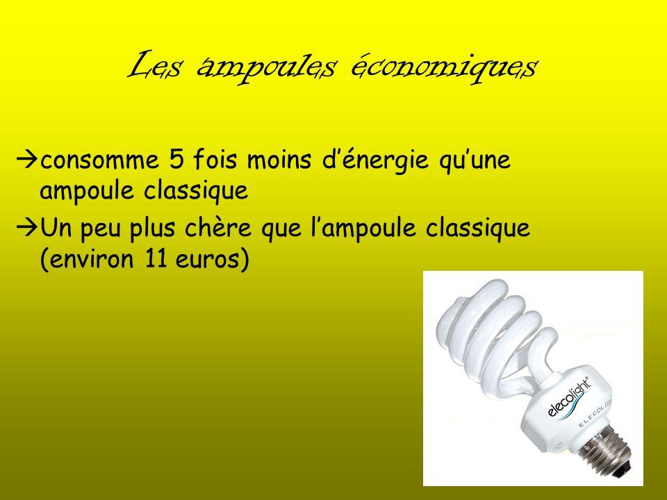 Les ampoules économiques consomme 5 fois moins dénergie quune ampoule classique Un peu plus chère que lampoule classique (environ 11 euros)