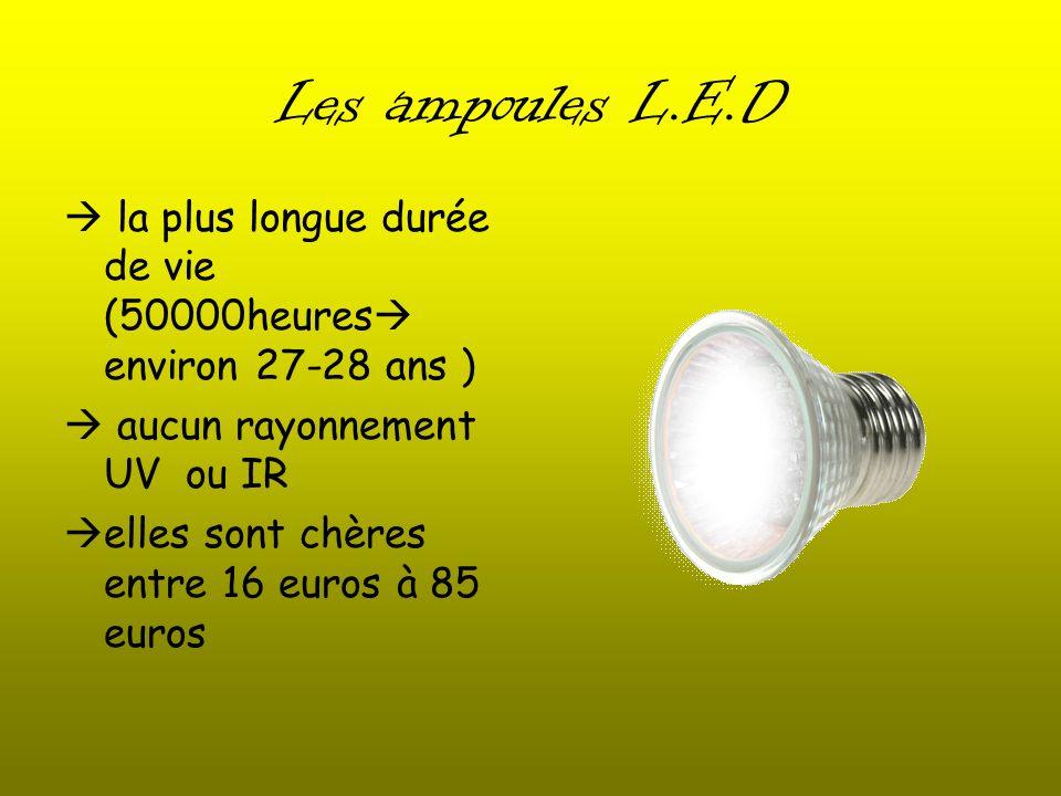 Les ampoules L.E.D la plus longue durée de vie (50000heures environ 27-28 ans ) aucun rayonnement UV ou IR elles sont chères entre 16 euros à 85 euros