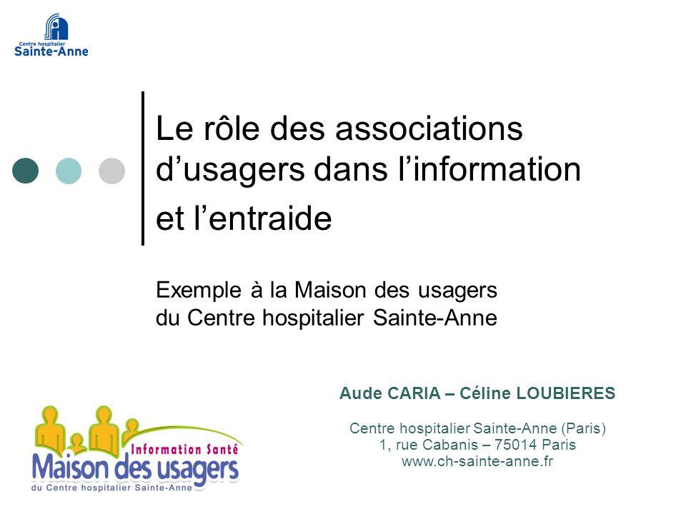 Exemple à la Maison des usagers du Centre hospitalier Sainte-Anne Le rôle des associations dusagers dans linformation et lentraide Aude CARIA – Céline