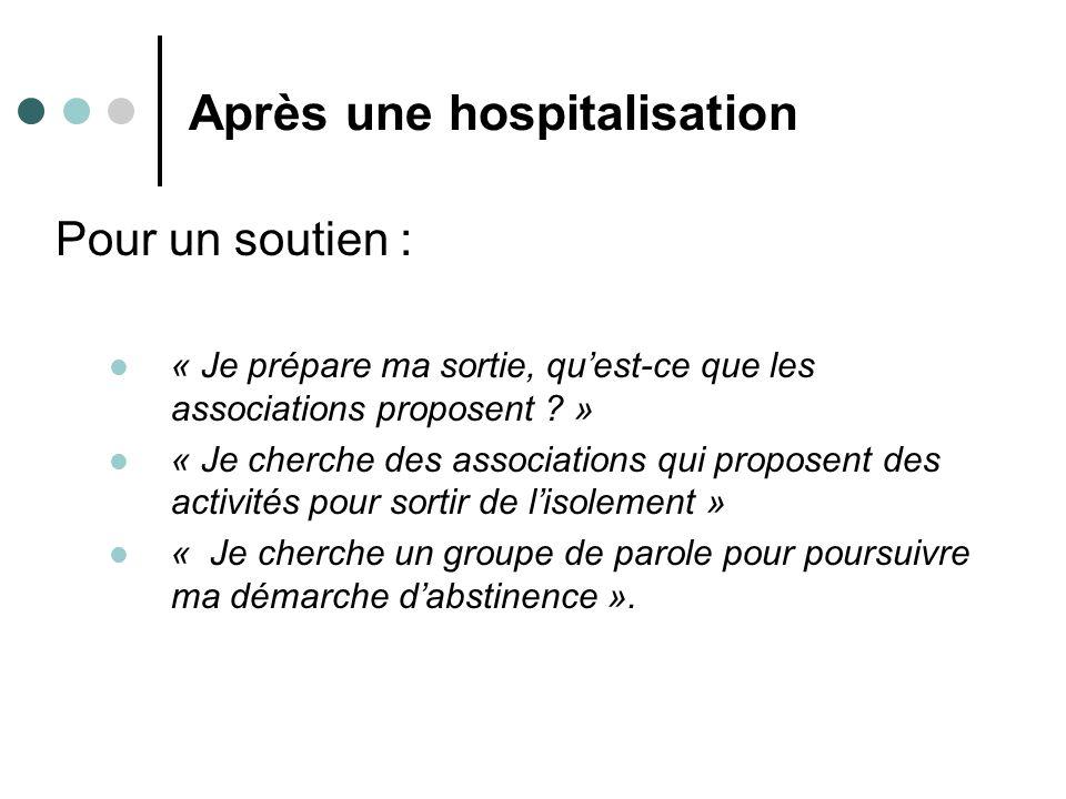 Après une hospitalisation Pour un soutien : « Je prépare ma sortie, quest-ce que les associations proposent ? » « Je cherche des associations qui prop