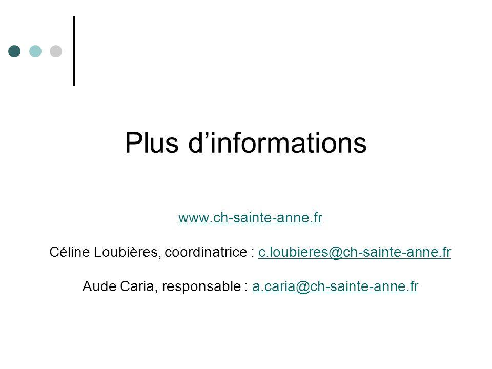 Plus dinformations www.ch-sainte-anne.fr Céline Loubières, coordinatrice : c.loubieres@ch-sainte-anne.frc.loubieres@ch-sainte-anne.fr Aude Caria, resp