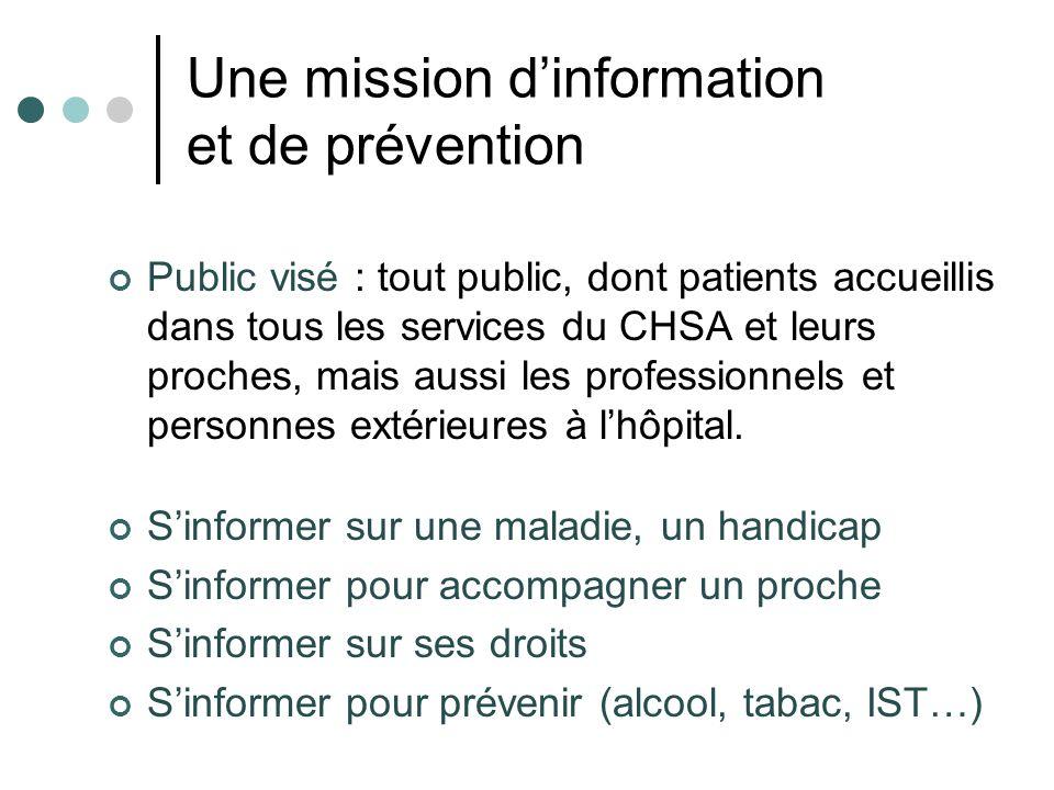 Une mission dinformation et de prévention Public visé : tout public, dont patients accueillis dans tous les services du CHSA et leurs proches, mais au