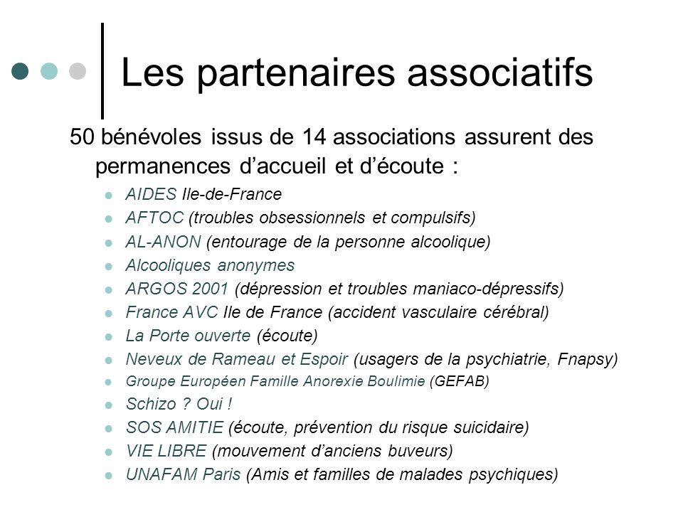 Les partenaires associatifs 50 bénévoles issus de 14 associations assurent des permanences daccueil et découte : AIDES Ile-de-France AFTOC (troubles o