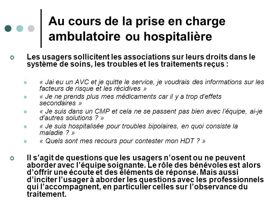 Au cours de la prise en charge ambulatoire ou hospitalière Les usagers sollicitent les associations sur leurs droits dans le système de soins, les tro