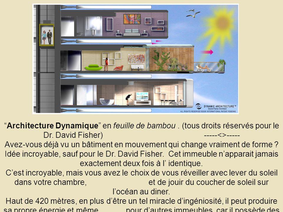 Architecture Dynamique en feuille de bambou. (tous droits réservés pour le Dr. David Fisher) -----<>----- Avez-vous déjà vu un bâtiment en mouvement q