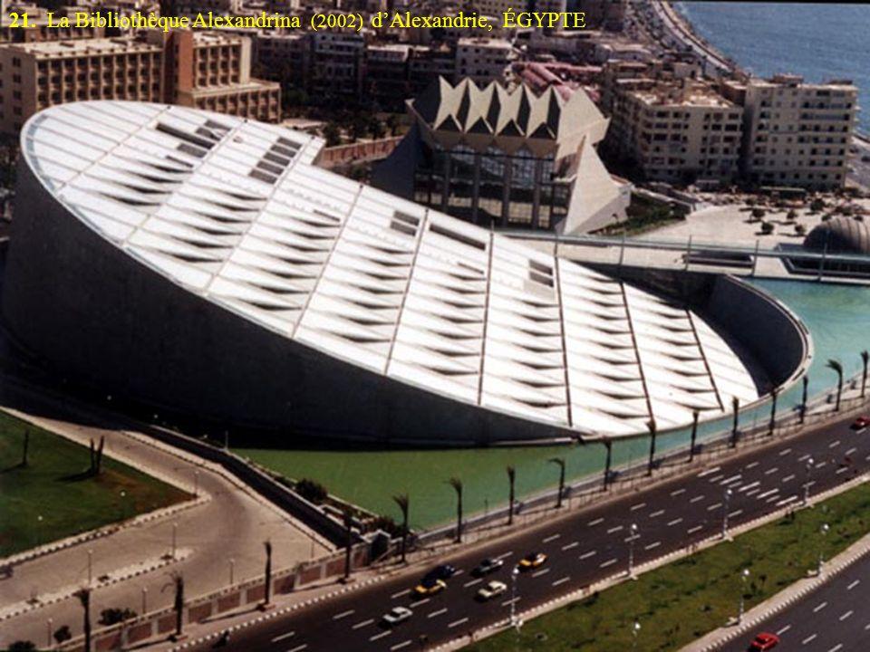 21. La Bibliothèque Alexandrina (2002) dAlexandrie, ÉGYPTE