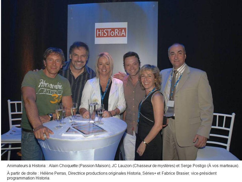 Animateurs à Historia : Alain Choquette (Passion Maison), JC Lauzon (Chasseur de mystères) et Serge Postigo (À vos marteaux). À partir de droite : Hél