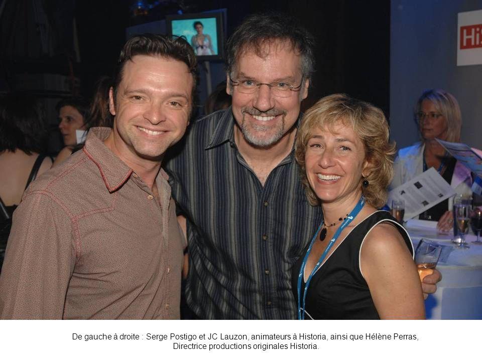 De gauche à droite : Serge Postigo et JC Lauzon, animateurs à Historia, ainsi que Hélène Perras, Directrice productions originales Historia.