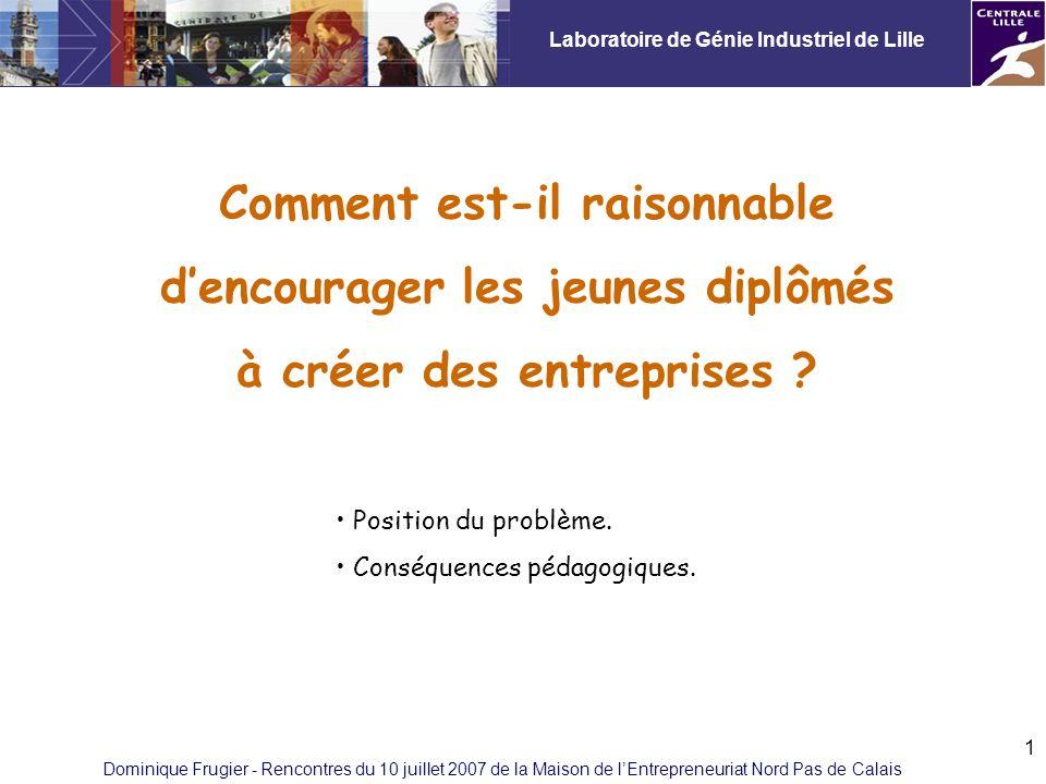 Laboratoire de Génie Industriel de Lille Dominique Frugier - Rencontres du 10 juillet 2007 de la Maison de lEntrepreneuriat Nord Pas de Calais 1 Comment est-il raisonnable dencourager les jeunes diplômés à créer des entreprises .