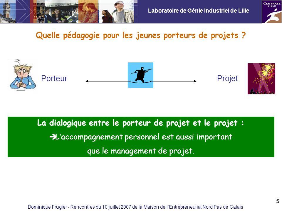 Laboratoire de Génie Industriel de Lille Dominique Frugier - Rencontres du 10 juillet 2007 de la Maison de lEntrepreneuriat Nord Pas de Calais 5 Quelle pédagogie pour les jeunes porteurs de projets .