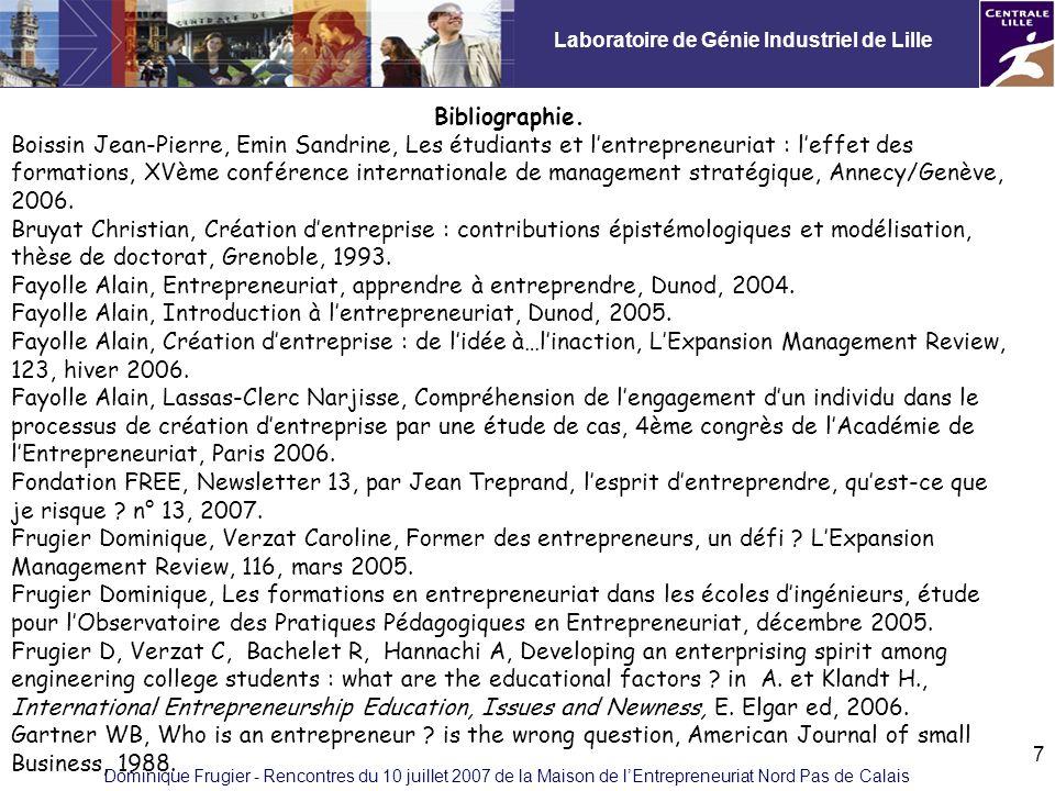 Laboratoire de Génie Industriel de Lille Dominique Frugier - Rencontres du 10 juillet 2007 de la Maison de lEntrepreneuriat Nord Pas de Calais 7 Bibliographie.