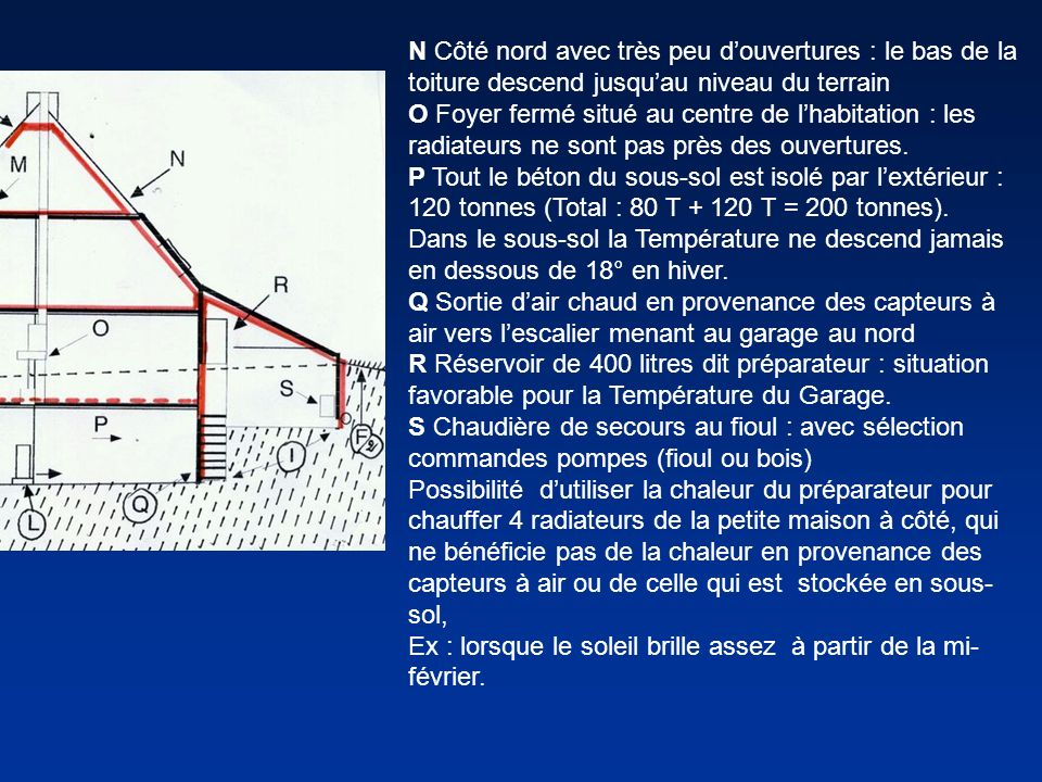 N Côté nord avec très peu douvertures : le bas de la toiture descend jusquau niveau du terrain O Foyer fermé situé au centre de lhabitation : les radi